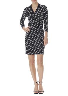 Anne Klein Geo Print Collar Wrap Front Dress