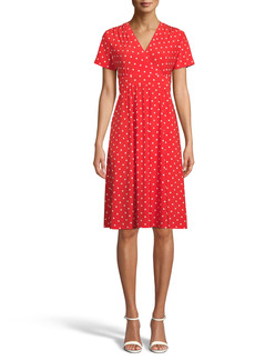 Anne Klein Polka Dot Knit Fit & Flare Dress