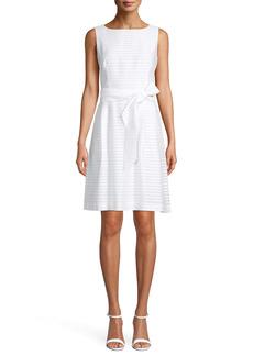 Anne Klein Sheer Stripe Sleeveless Fit & Flare Dress
