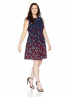 Anne Klein Women's Size Plus Seamed Crepe FIT & Flare Dress