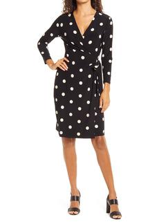 Women's Anne Klein Dot Print Long Sleeve Wrap Dress