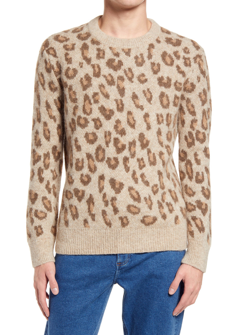 A.P.C. Nans Leopard Pattern Crewneck Alpaca Blend Sweater