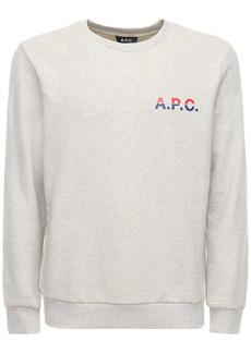 A.P.C. Two Tone Logo Print Cotton Sweatshirt