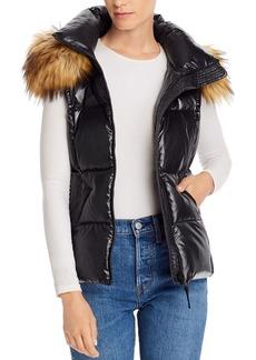 AQUA Faux Fur Trim Hooded Puffer Vest - 100% Exclusive