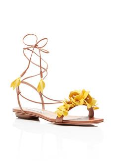 Aquazzura Bougainvillea Floral Ankle Tie Flat Sandal (Women)