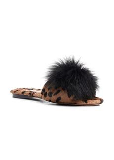 Aquazzura Foxy Leopard Print Genuine Calf Hair Slide Sandal with Genuine Alpaca Pom (Women)