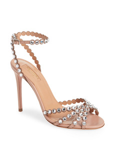 Aquazzura Tequila Crystal Embellished Ankle Strap Sandal (Women)