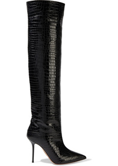 Aquazzura Woman Boreal 95 Glossed Croc-effect Leather Over-the-knee Boots Black