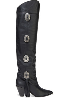 Aquazzura Woman Go West 70 Buckle-embellished Leather Over-the-knee Boots Black