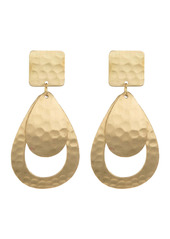 Area 14K Gold Plated Brass Hammered Geo Drop Earrings