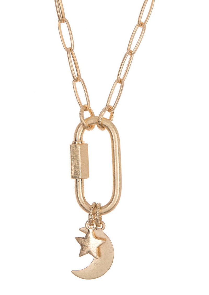 Area 14K Gold Plated Carabiner Moon & Star Link Pendant Necklace