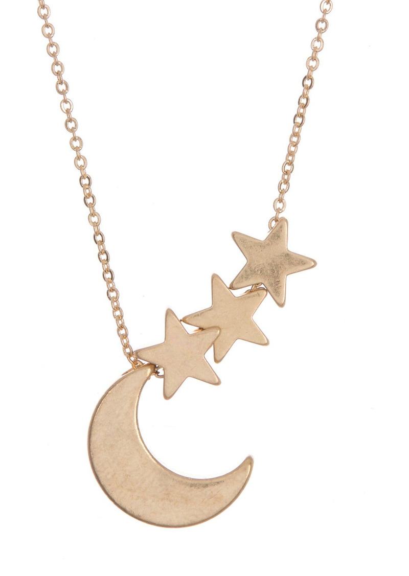 Area 14K Gold Plated Crescent Moon & Stars Pendant Necklace