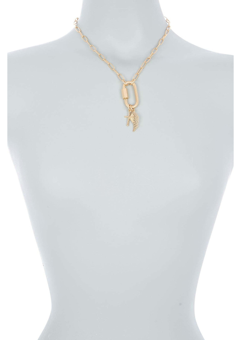 Area 14K Gold Plated Cross & Angel Wing Charm Pendant Necklace