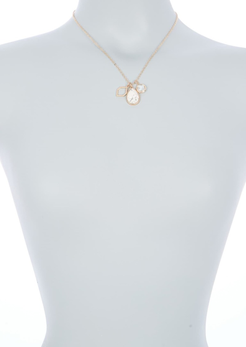 Area 14K Gold Plated Howlite Stone Mixed Charm Pendant Necklace