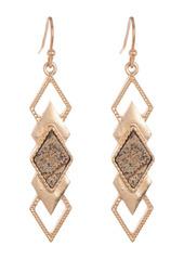 Area 14K Gold Plated Jasper Stone Layered Geo Drop Earrings