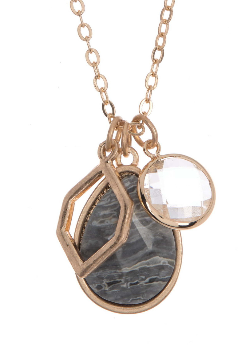 Area 14K Gold Plated Jasper Stone Mixed Charm Pendant Necklace