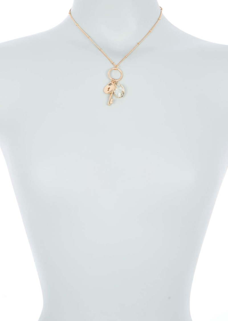 Area 14K Gold Plated Lock & Key Cluster Charm Pendant Necklace