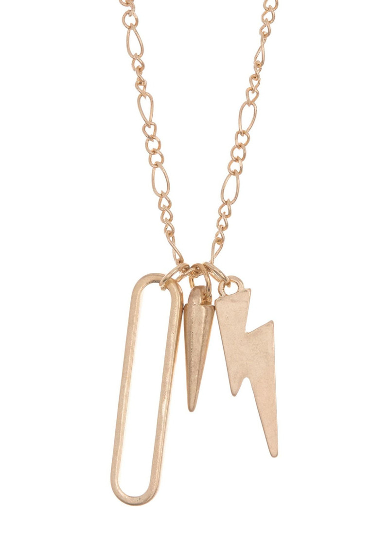 Area 14K Gold Plated Mixed Charm Pendant Necklace