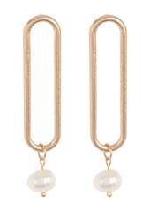 Area 14K Gold Plated Open Clip 8mm Freshwater Pearl Drop Earrings