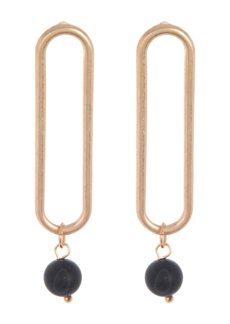 Area 14K Gold Plated Open Clip Howlite Stone Drop Earrings