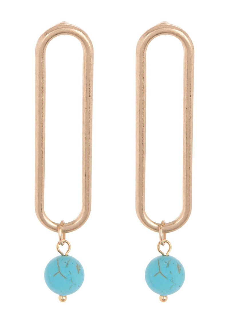 Area 14K Gold Plated Open Clip Turquoise Stone Drop Earrings
