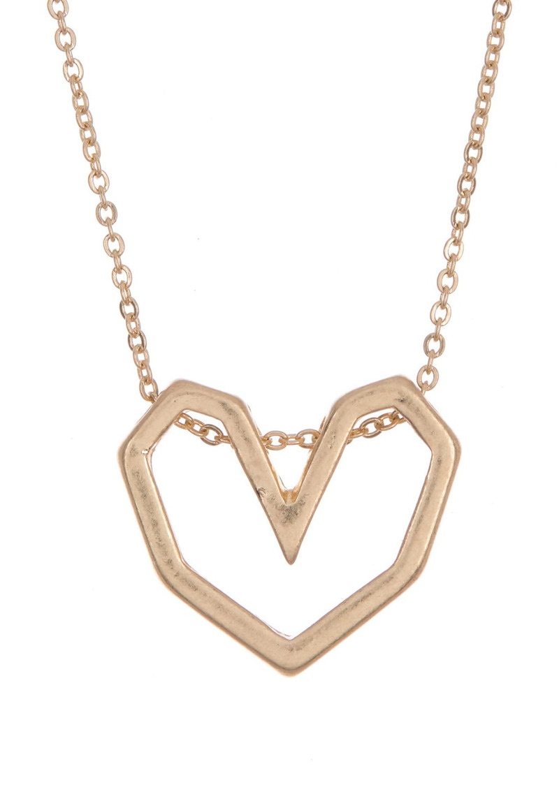 Area 14K Gold Plated Open Heart Pendant Necklace