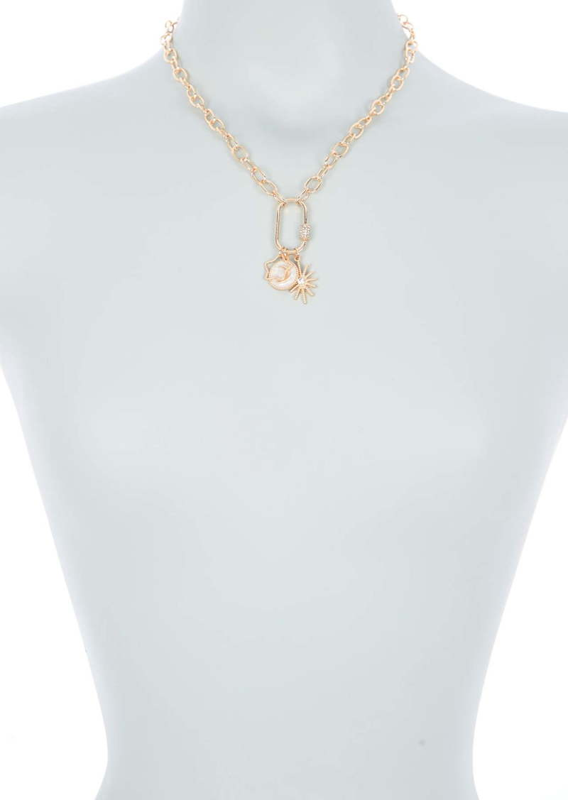 Area 14K Gold Plated Pave Crystal Star Mixed Charm Carabiner Pendant Necklace