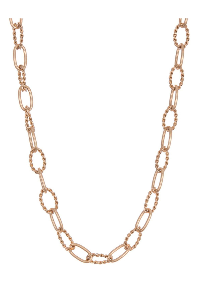 Area 14K Gold Plated Textured Link Chain Necklace