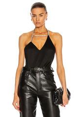 AREA Asymmetrical Crystal Halter Bodysuit