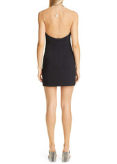 Area Asymmetrical Crystal Halter Neck Minidress