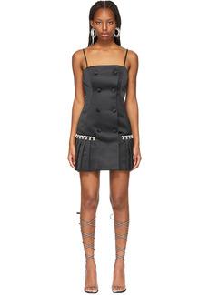 AREA Black Pleated Tuxedo Dress