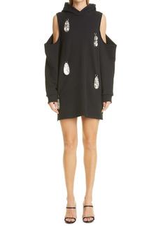 Area Cold Shoulder Sweatshirt Dress with Hammered Pendants