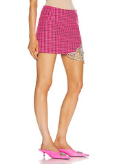 AREA Crystal Butterfly Cutout Mini Skirt