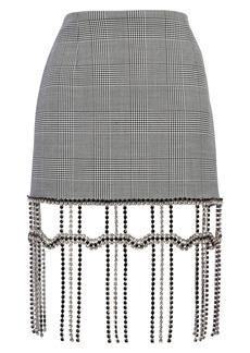 Area Crystal Fringe Plaid Miniskirt