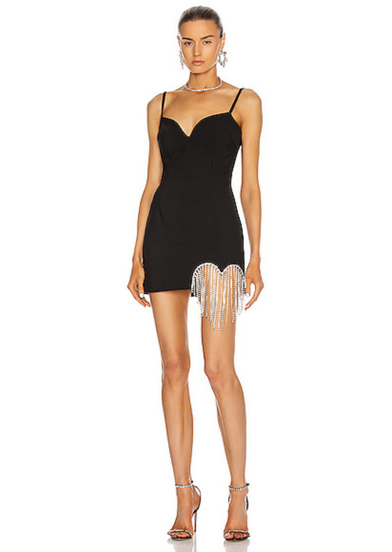 AREA Crystal Heart Fringe Mini Dress