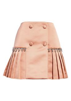 Area Crystal Pleat Satin Miniskirt