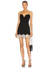 AREA Crystal Scallop Fringe Sweetheart Dress
