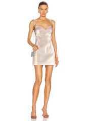 AREA Crystal Strap Sweetheart Mini Dress
