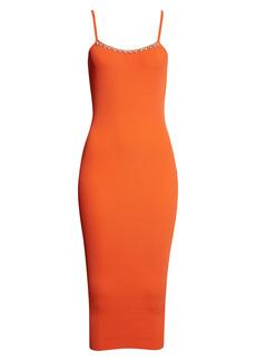Area Crystal Trim Rib Body-Con Midi Dress