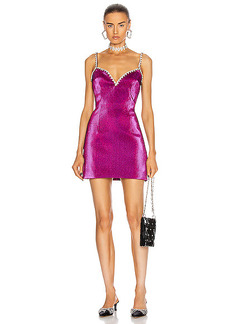 AREA Crystal Trim Sweetheart Dress