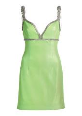 Area Crystal-Trimmed Lamè Mini Dress