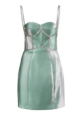 Area Crystal-Trimmed Twill Bustier Dress