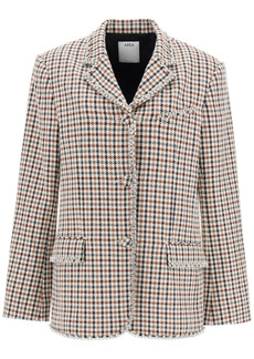 AREA Houndstooth Blazer With Crystals