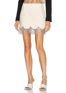 AREA Scalloped Crystal Hem Mini Skirt