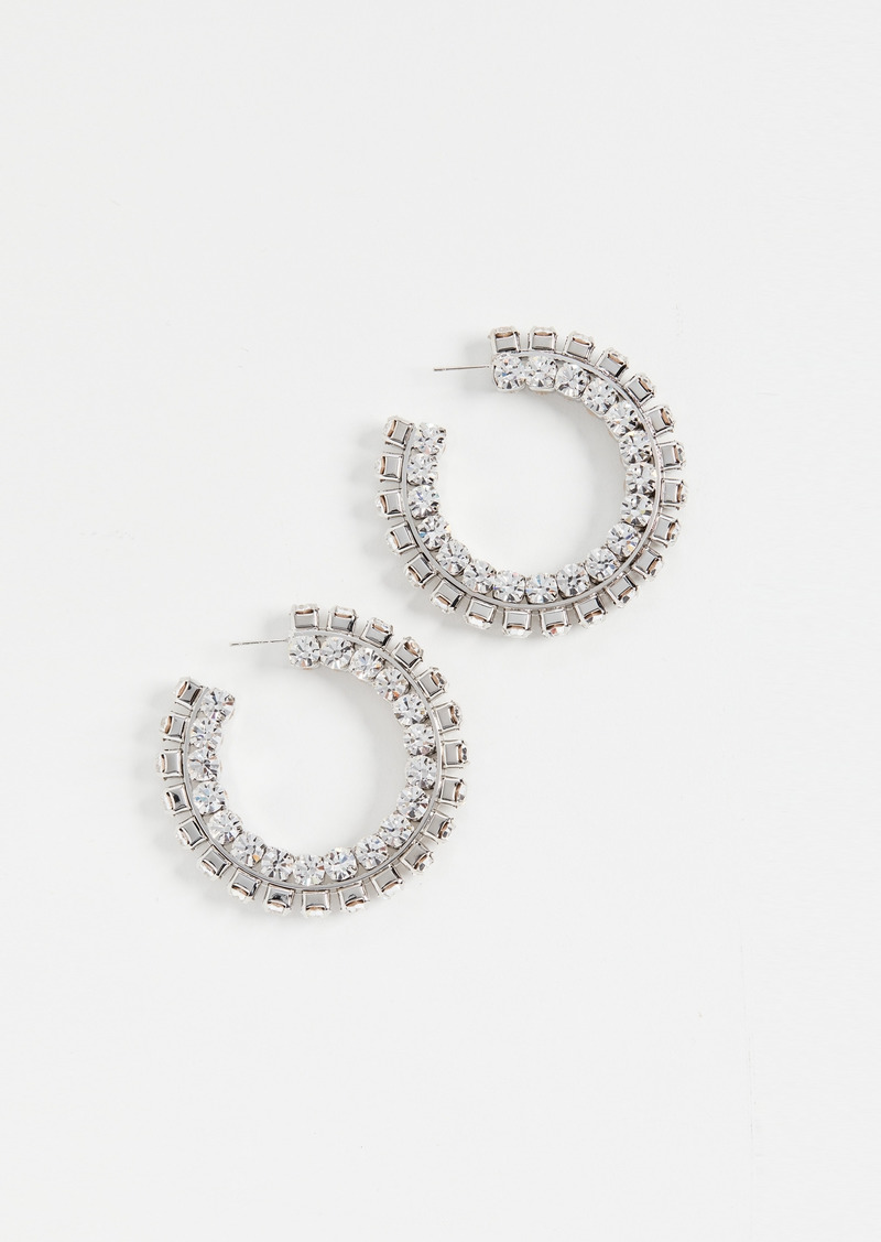Area Stacked Crystal Round Hoops