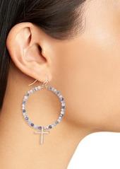 Area Stars Beaded Cross Hoop Earrings