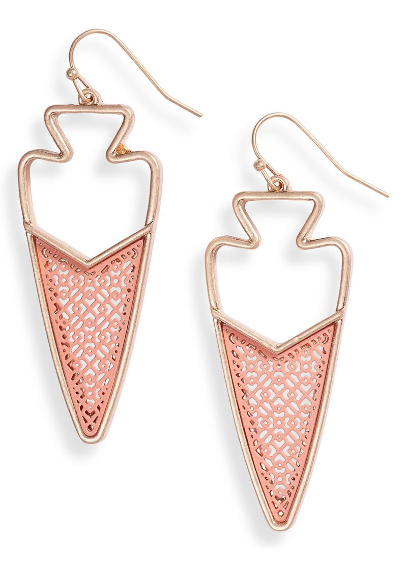 Area Stars Coral Arrow Drop Earrings