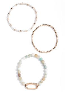 Area Stars Mint Set of 3 Beaded Stretch Bracelets