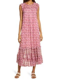 Area Stars Peony Pleat & Ruffle Midi Dress