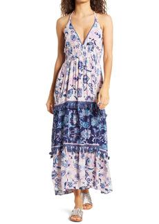 Area Stars Riviera Floral Tassel Halter Dress